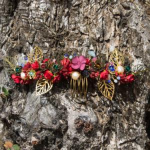 Tocados joya rojo y dorado para bodas novias invitadas
