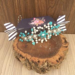 Tocado joya turquesa aguamarina y perlas naturales para novia bodas comunión