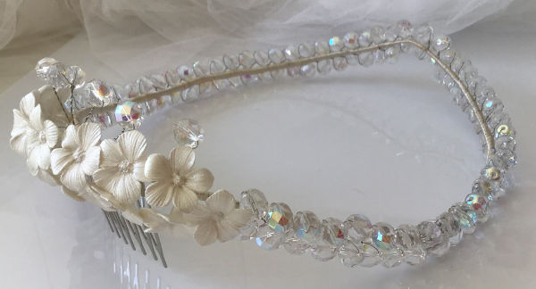 corona de cristales para boda novia