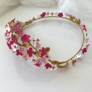 Coronas de flores para el pelo rosas hojas doradas ideal boda o comuniones
