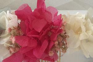 Corona semicorona flores preservadas bodas comunión