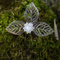 Horquilla de fornitura con cristal checo y hojas plateadas