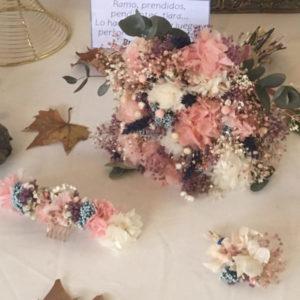 Pack a juego ramo de novia tiara prendidos flores preservadas