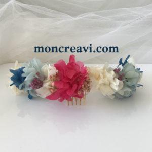 tiara de flores preservadas multicolor