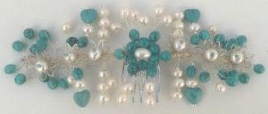 Tocado joya comunión en turquesa y perlas naturales para niña