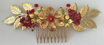 Tocado joya dorado y rojo para madrina, dama de honor, invitada y fiesta