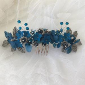 Tocado joya azul y plata con abalorios plata envejecida y cristal checo