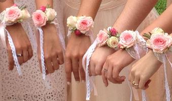 pulseras de flores preservadas damas de honor
