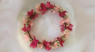 Adornos pelo comunión Corona de primera comunión flores rosa blanca
