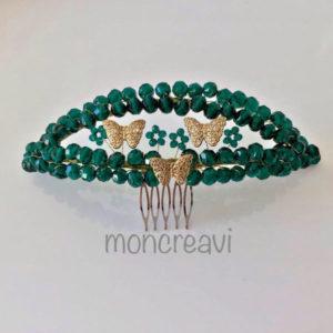 Tocado novia joya verde y dorado con cristales y abalorio en forma de mariposa
