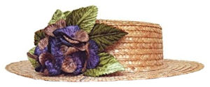 Adorno pelo invitada boda de día sombrero tipo Canotier de color paja natural y adornos en azul y verde.