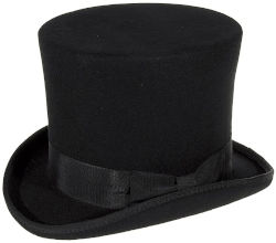 Chistera clásica negra de caballero ideal para bodas y eventos de alto nivel, prenda de etiqueta que acompaña al esmoquin.