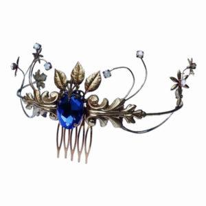 tocado joya metálico tiara novia hojas flores cristal chapa color dorado